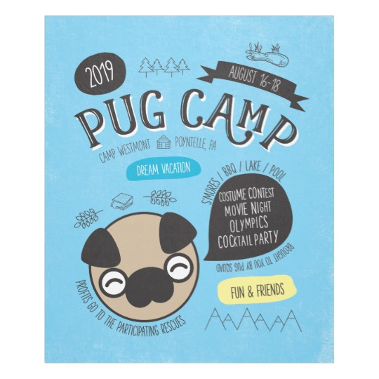 Pug Camp 2019 Fleece Throw Blanket